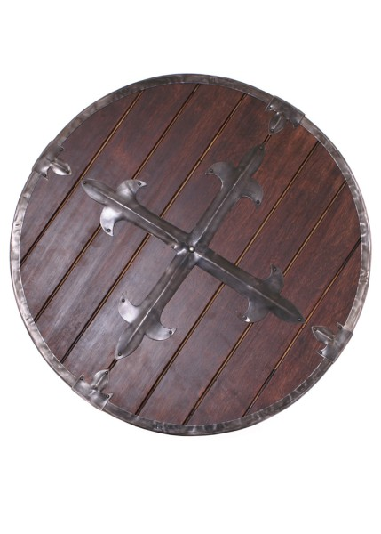 Holz Rundschild mit Stahlbeschlägen