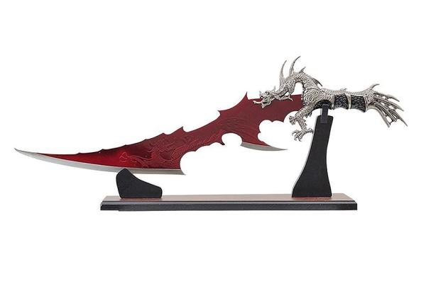Fantasy Drachen Dolch mit roter Klinge