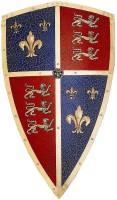 Ritterschild aus Metall mit Löwen und Lilienmotiven